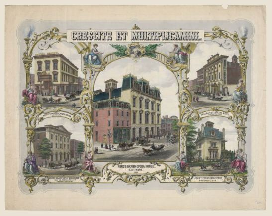 An 1873 print of John T. Ford's current and former theatres in Baltimore and Washington, as well as his Baltimore residence. Library of Congress, LC-DIG-pga-01569.