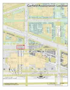 Map indicating location of shooting of President Garfield