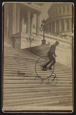 """""""A Perilous Ride"""" photograph taken by the Platt Brothers of Nantucket (and Washington DC), 1884. photo–Library of Congress, Prints and Photographs Div.."""