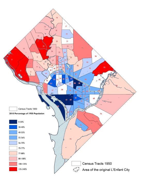 Map no. 2 illustrates patterns of change in where DC's population lived between the two census years. The tracts used are those from the 1950 census. compiled by the author.